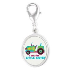 I am the Big Sister - Tractor Silver Oval Charm