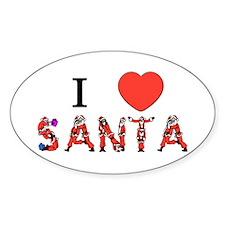 I Love Santa Oval Decal