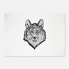 Peaceful Wolf 5'x7'Area Rug