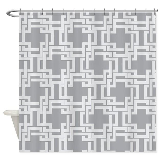 Art Deco Gray Geometric Vintage Shower Curtain by MainstreetHomewares