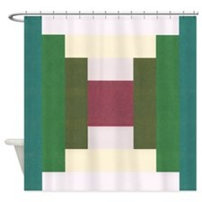 Log Cabin Quilt Square Shower Curtain