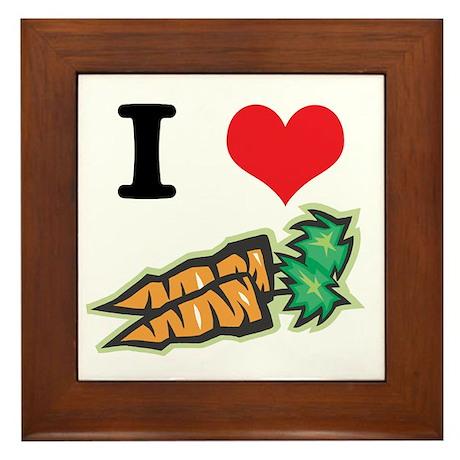 I Heart (Love) Carrots Framed Tile