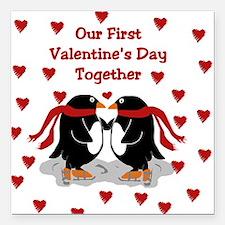 Penguins First Valentine's Day Together Square Car
