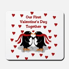 Penguins First Valentine's Day Together Mousepad