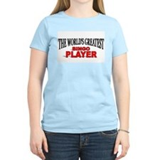 """The World's Greatest Bingo Player"" Women's Pink T"