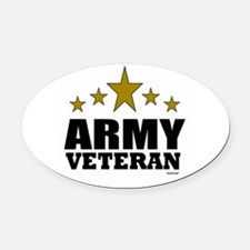 Army Veteran Oval Car Magnet
