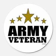 Army Veteran Round Car Magnet