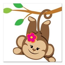 Girl Monkey Swinging From Branch Square Car Magnet