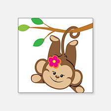 Girl Monkey Swinging From Branch Sticker