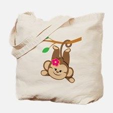 Girl Monkey Swinging From Branch Tote Bag
