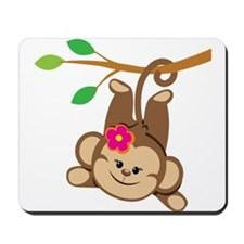 Girl Monkey Swinging From Branch Mousepad