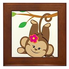 Girl Monkey Swinging From Branch Framed Tile