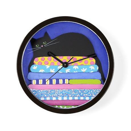 Black CAT On Quilts BLUE Art Wall Clock