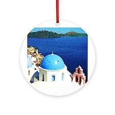 Santorini Ceramic Ornament (Christmas Ornament)
