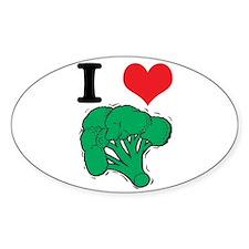 I Love (Heart) Broccoli Oval Decal