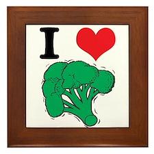 I Love (Heart) Broccoli Framed Tile