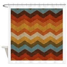 Southwestern Burlap Chevron Zigzags Shower Curtain