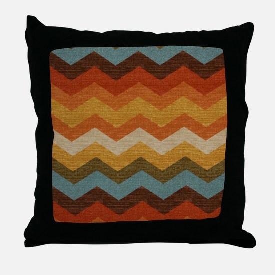 Southwestern Burlap Chevron Zigzags Throw Pillow