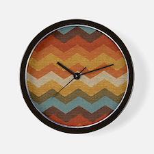 Southwestern Burlap Chevron Zigzags Wall Clock