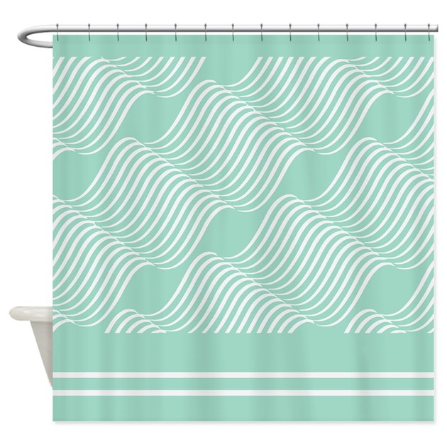 sea foam green wave pattern shower curtain by