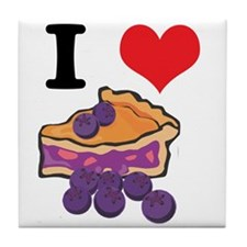 I Heart (Love) Blueberry Pie Tile Coaster