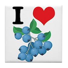 I Heart (Love) Blueberries Tile Coaster