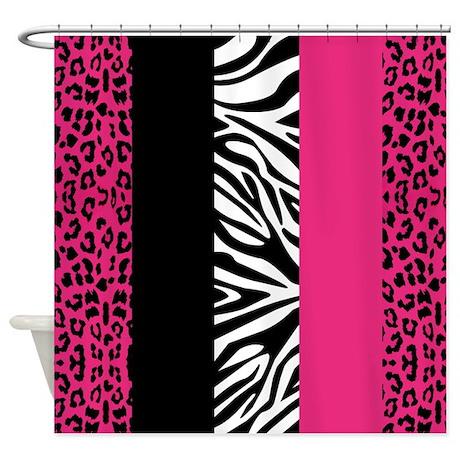 Hot Pink Animal Print Stripes Zebra Leopard Shower By