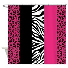 Hot Pink Animal Print Stripes Zebra Leopard Shower