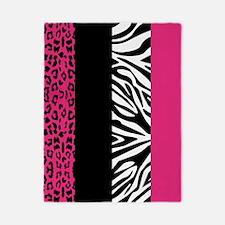 Hot Pink Animal Print Stripes Zebra Leopard Twin D