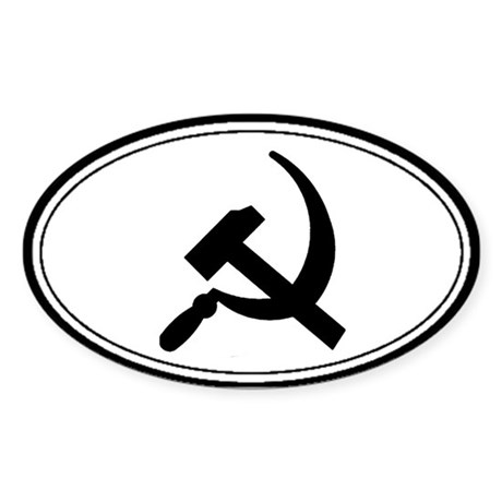 Black Hammer & Sickle Oval Sticker