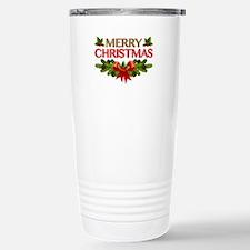 Merry Christmas Berries & Holly Travel Mug