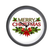Merry Christmas Berries & Holly Wall Clock