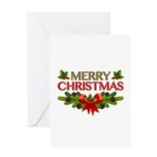 Merry Christmas Berries & Holly Greeting Card