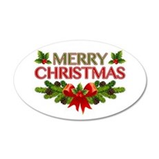 Merry Christmas Berries & Holly 20x12 Oval Wall De