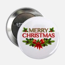 "Merry Christmas Berries & Holly 2.25"" Button (10 p"