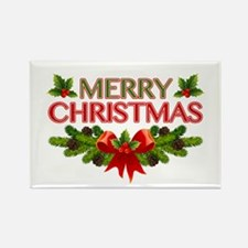 Merry Christmas Berries & Holly Rectangle Magnet (