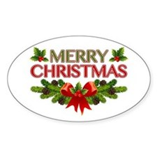 Merry Christmas Berries & Holly Decal