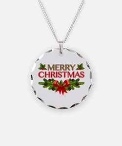 Merry Christmas Berries & Holly Necklace Circle Ch