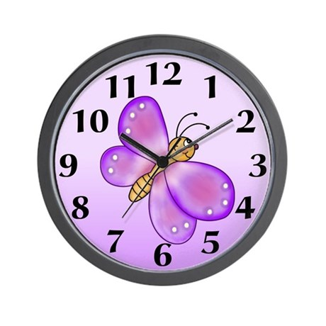Purple Butterfly Wall Clock By Stylesplus