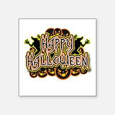 "Spooky Happy Halloween Square Sticker 3"" x 3"""