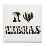 i love zebras Tile Coaster