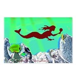 Green Mermaid Postcards (Pack of 8)