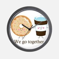 We go together like coffee and donuts Wall Clock