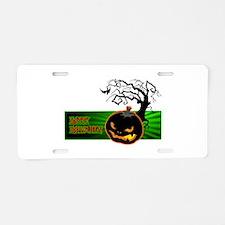 Halloween Pumpkin Aluminum License Plate