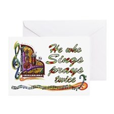 He Who Sings Prays Twice Blank Cards (Pk of 10)