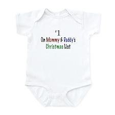 #1 On Christmas List White Infant Bodysuit