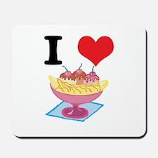 I Heart (Love) Banana Splits Mousepad