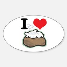 I Heart (Love) Baked Potatoes Oval Decal