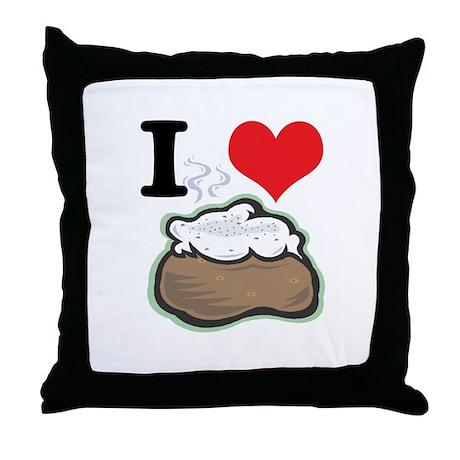 I Heart (Love) Baked Potatoes Throw Pillow