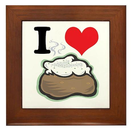 I Heart (Love) Baked Potatoes Framed Tile
